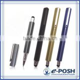 Triangle aluminum extrusion barrel touch screen roller ball point pen with stylus