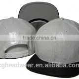 Custom snapback hats wholesale/snapback cap/plain black leather snapback caps