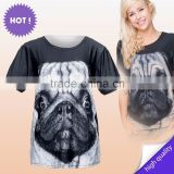 2015 New Latest factory small quantity wholesale free size custom printed blank t-shirt pug for ladies fashion wear