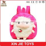 cute backpack with plush animal toy good quality canvas backpack hot selling kids school backpack