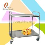 2 ties Separated assembled OEM factory competitive price foldable stainless steel food serving cart trolly with wheels