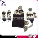 Great qualtiy women winter knitting sets wholesale knitted scarf beanie and glove sets (can be customized)