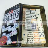 Dexule 91pcs Double 12 Custom Printed Colorful Plastic Dominoes Game Set Color Dots in Tin Iron Regangular Box
