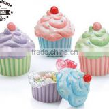 ceramic dolomite sets of 4 cup cake candly holder with lid