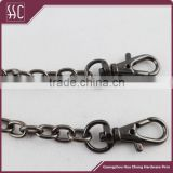 (Guangzhou China)gun metal plated metal chain with small snap hook,decorative metal chain for single shoulder bag