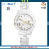 FS FLOWER - Casual Type White Ceramic Watch Case Band Watches Men Wrist Japan Movement With Date
