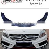 High quality w176 R style front lip spoiler in carbon for Bz A CLASS W176 A45 Style bumpers