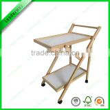 Most popular foldable wooden kitchen serving trolley cart with 2 tiers