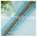 2016 beautiful handmade best price mesh beaded lace trim for garment