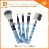 5pcs advantage romantic nylon hair skype blue plastic handle rhinestone makeup brush set