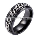 Shenzhen wholesale manufacturer black zirconium metal jewellery rings black titanium ring with chain inlay