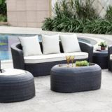 Outdoor Sofa Three Seat Single Sofa Alu Frame 10cm Cushion Axvision Fabric Garden Pillows