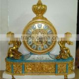 Emperial Cellectable World Treasure Gold Plated Brass Engraved Table Clock, Noble Crown Turquoise Ceramic Decorative Desk Clock