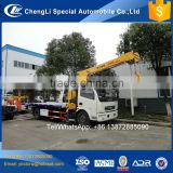 Emergency Car Carrier slide Recovery Road rescue flatbed tow truck mounted crane 3.2ton