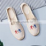 Wholesale Summer linen sole sweat uptake breathable casual shoes woman fashion slip-on flat fisherman shoes