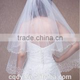 2015 Beaded Edged Ivory White Wedding Veil Soft Tulle High Quality Wedding Bridal Veils