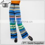 2017 OEM Womens Baggy Long Trousers Striped Knit Flare Pants