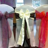 spandex wedding chair cover, satin and organza chair sash for banquet