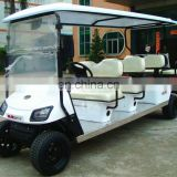 Green 8 seater electric utility vehicle for sightseeing and recreation