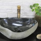 Black River Stone Bathroom Wash Basin Natural Stone Vessle Sink
