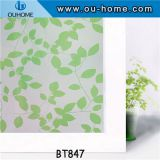 BT847 Stained green leaves glass privacy window film