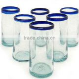 Cobalt classics set of 6 hand blown drinking glass with blue rim