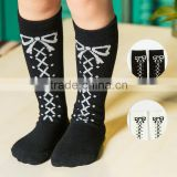 C58552S New Children's Knee High Long Socks Baby Kids Cotton Princess Bowknot Girls Socks Cute Socks