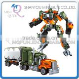Mini Qute DIY boy 2 in 1 change robot super hero car truck action figure plastic building block models educational toy NO.25814