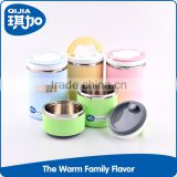 Eco-friendly pp material stainess steel colorful food keep warm biodegradable lunch box