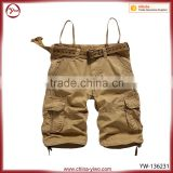 Man fashion baggy cotton twill cargo shorts with belt