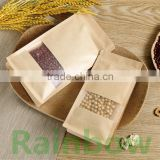 flat bottom bags with reusable zipper and clear window for coffee beans/ snack /dry food quad sealed packaging bags