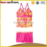 Cute flower printing fancy 3-10 years girl swimwear children swimwear Image