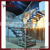 modern indoor railings for stair/stainless steel pipe handrail and laminate wood flooring