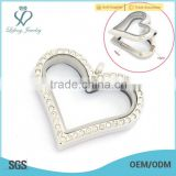 Crystal silver/gold/rose gold/black 316l stainless steel photo glass memory heart shaped floating locket