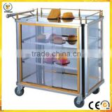 All steel snack car hotel service stainless steel trolley service designs trolley with glasses