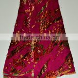 Wine color hand cut high quality fashion trending Nigerian style velvet lace fabrics