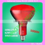 R125 Infrared heat lamp for animals red reflector frosted halogen bulb 18w28w42w52w70w105w