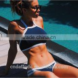 Wholesale Summer styles Triangle young girls hot sexy crop top hang High neck Bikinis set push up Swimwear