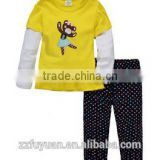 2015 new arrival kid cotton clothing sets with double color design,bright color t-shirt with pants