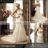 OEM factory long train halter strap long tail ball gown wedding dress