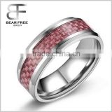 Men's Fashion Tungsten Carbide Wedding band ring with Red carbon fiber inlay