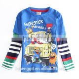 (A56296Y) latest design children clothing nova kids wear 100%cotton printed funny cartoon parttern top baby boys t shirts