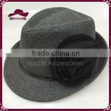 2015 New Design Wool Blend Fedora Big Flower Hats