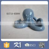 Nautical Ocean Beach Bay Blue ceramic octopus whale figurine