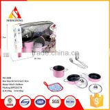 8PCS PINK STAINLESS STEEL COOKING WARE KITCHEN SET