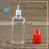 30ml plastic bottle with childproof cap square PET bottle with long thin tip for ejuice essential oil