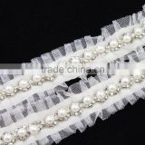 wholesale crystal pearl ivory handmade bridal beaded lace trimmings for dresses S10754