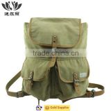 Customized vintage canvas backpack with genuine leather