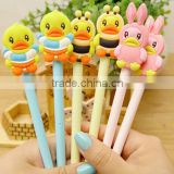 diy creative stationery kids personalized Novelty gel pen with lovely cartoon rubber duck cap logo sign pen slim ball point pen