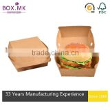 New Style Best Selling Wholesale Certified Recycled Kraft Natural Food Grade Hamburger Packaging Box